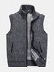 Casual Loose Thick Sweater Vest Solid Color Stand Collar Knited Waistcoat for Men