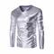 Повседневная мода Золото Ламинирование Костюм V-образным вырезом Slim Fit с длинными рукавами футболки для мужчин