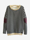 Women Patchwork Long Sleeve Fleece Inside Stripe Cotton Sweatshirt