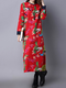 Vintage Printed Folk Embroidered Female Long Sleeve Dress