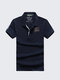 Mens Solid Color Letters Printing Turndown Collar Short Sleeve Casual Polo Shirts