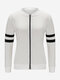 Women Casual Stripe Stand Collar Solid Color Jacket