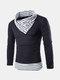 Мужские зимние свитера Строчка нашивки Воротник Теплый вязаный Повседневный пуловер