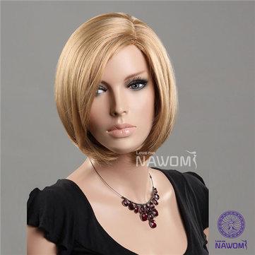 NAWOMI Short Straight Lady Synthetic Hair Wig 100% Kanekalon Capless Fluffy Side Bang