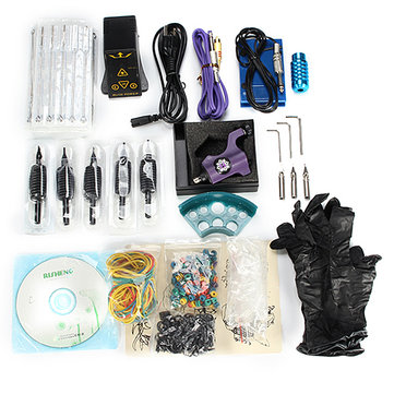 Professional Tattoo Machine Kit Power Supply Handle Pigment Cup With English CD