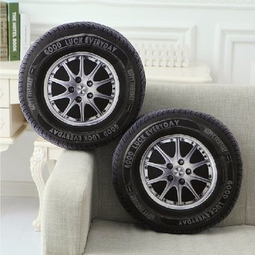 Buy 40cm PP Cotton 3D Car Tire Shape Cushion Waist Throw Pillows Home Office Sofa Decor