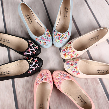 Buy Colorful Bead Crescent Moon Slip Flat Mary Jane Shoes