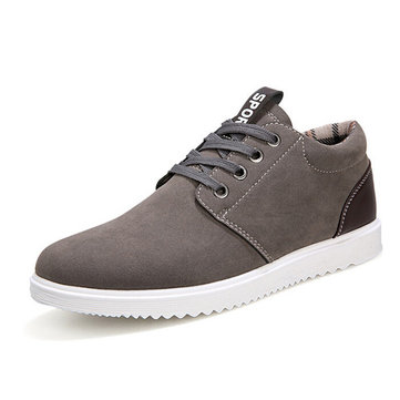 Buy Men Suede Color Match British Style Lace Flat Sport Casual Shoes