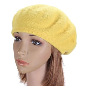 Vintage Unisex Solid Warm Wool Berets Ski Hats French Style Beanie Cap