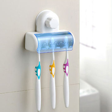 Plastic Bathroom Wall Suction Cups 5 Set Toothbrush Holder Stand Rack