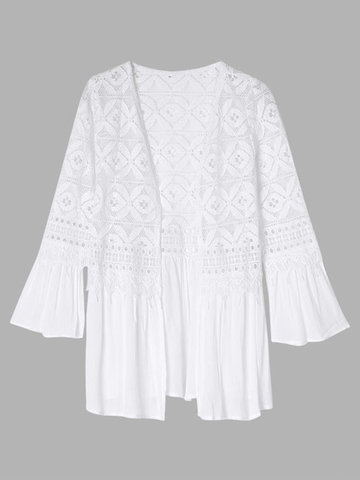 Women Flare Long Sleeve Hollow out Lace Splicing Cardigan