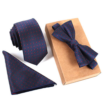 Men Business Vintage Tie Sets  Neck Tie Bow Tie Pocket Square Towel For Wedding Meeting And Party