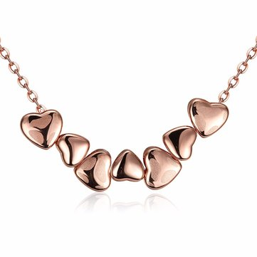 Sweet Necklace Alloy Rose Gold Heart to Heart Necklace for Women