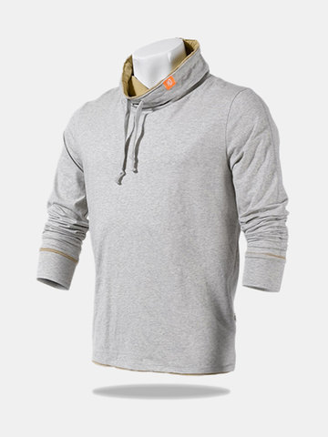 Buy Spring Fall Mens Solid Color Elastic String Stand Collar Casual Sports Sweatshirts