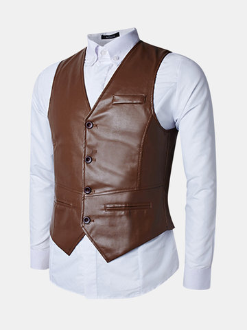 Buy Business Casual Fashion PU Leather Slim Fit Waistcoat Men