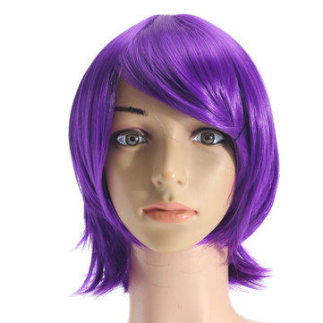Buy Anime Purple Short Full Wig Cosplay Party Straight Hair Wigs High-temperature Hairpiece Unisex