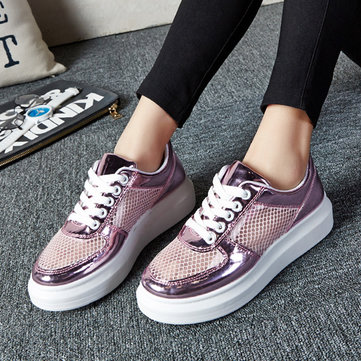 Buy Mesh Breathable Shiny Korean Style Lace Flat Casual Shoes
