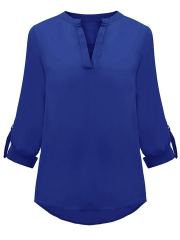 OL Solid Loose Long Sleeve V-Neck Chiffon Women Blouse от Newchic.com INT