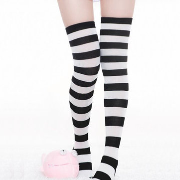 Fashion Women Girl Striped Cotton Thigh High Over the Knee Socks