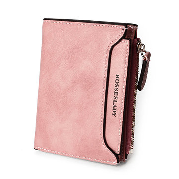PU Thin Light Short  Wallet Card Bag Change Bag Girls Elegant Purse For Women