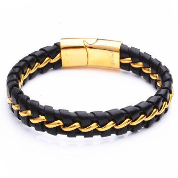 Stainless Steel Leather Wristband Magnetic Clasp Bracelet от Newchic.com INT