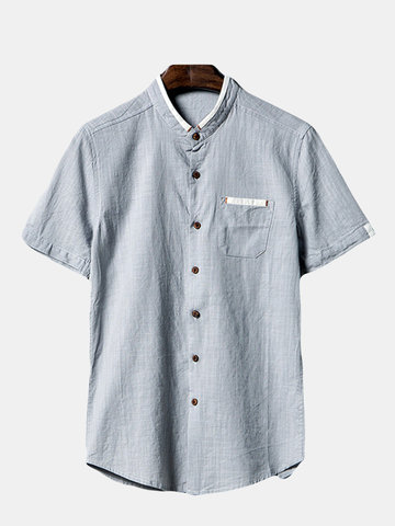 Buy Spring Summer Mens Breathable Flax Solid Color Short Sleeve Casual Shirts