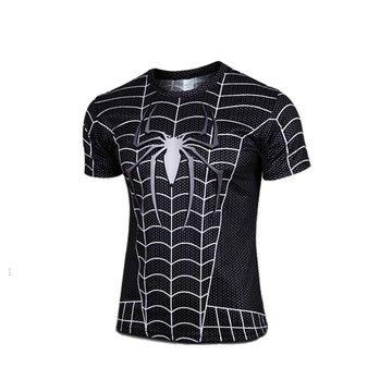 Unique Spider Man Black Sport Breathable Wicking 3D printed Short-sleeve T-shirt
