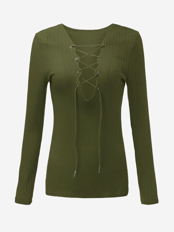 Women Long Sleeve V Neck Lace Up Knitted Sweaters от Newchic.com INT