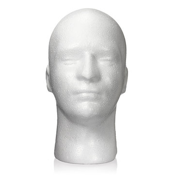 Male White Foam Mannequin Model Head Glasses Wig Hat Display Stand