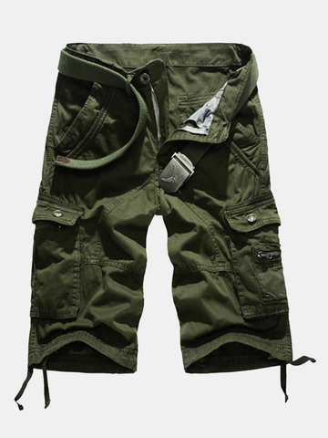 Buy Summer Mens Cotton Breathable Shorts Big Pockets Washed Solid Color Cargo