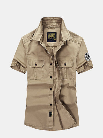 AFSJEEP Outdoor Casual Cotton Short Sleeve Double Chest Pockets Dress Shirts for Men