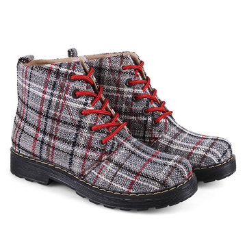 Buy Ladies Canvas Plaid Boots Ankle High Flat Casual Soft Round Toe Martin