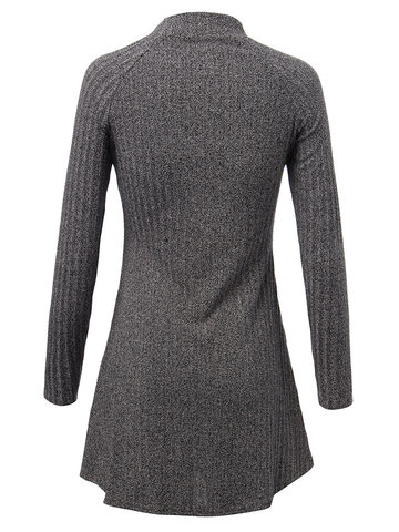 Solid O Neck Long Sleeve Pleated Knit Pullover Casual Basic Dress от Newchic.com INT