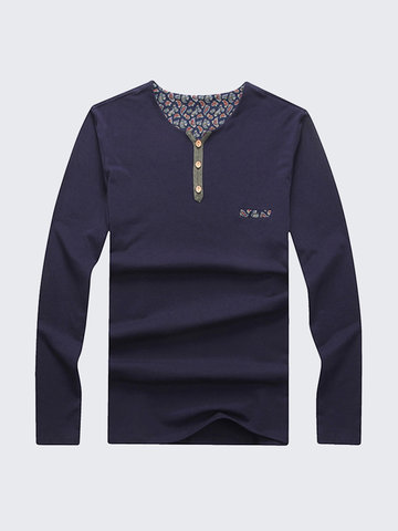 Buy Mens Plus Size Long-sleeved T-shirt Solid Color V-neck Front Buttons Cotton Casual Tops Tee