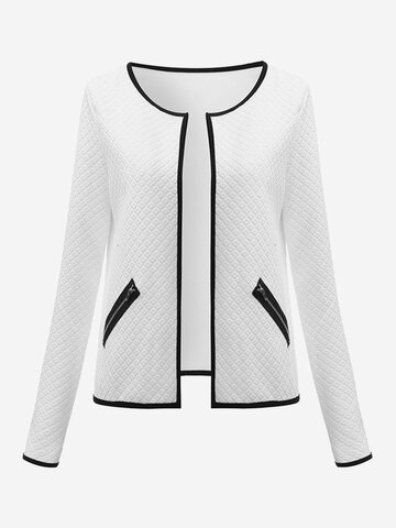 Celmia Casual Long Sleeves Zipper Pocket Patchwork Jacket For Women
