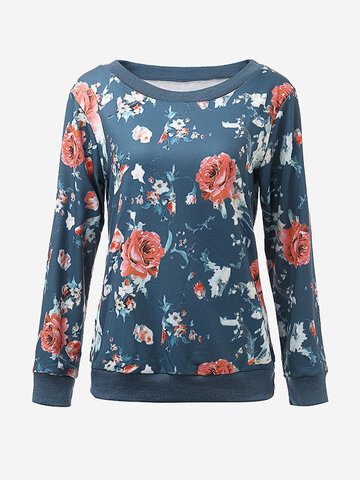 Women Long Sleeve O Neck Floral Printed Pullover Sweatshirt
