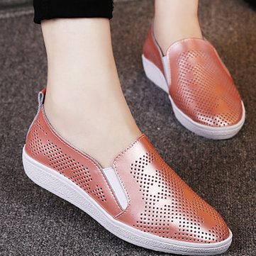 Buy Leather Shiny Hollow Breathabel Korean Style Slip Flat Loafers