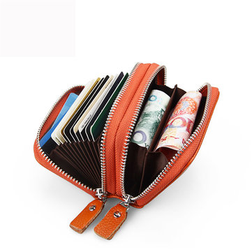 Buy RFID Antimagnetic Women Men Genuine Leather Zipper Card Holder Purse