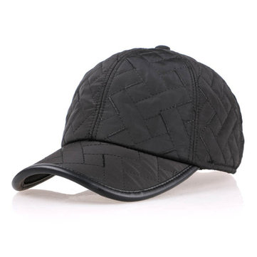 Men Leisure Grid Earmuffs Warm Hats Thicken Baseball Cap Casquette Hats