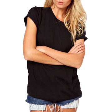 Angel Wings Back Hollow Out Sexy Short Sleeve Cotton WomenTshirt
