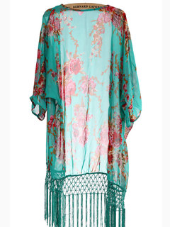 Bohemia Loose Floral Tassel Chiffon Beach Wear Cover Up Women Cardigan