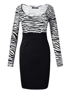 Bodycon Sexy Leopard Long Sleeve Slim Pencil Dress