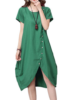 Casual Women Button Pleats Split Asymmetrical Linen Dress