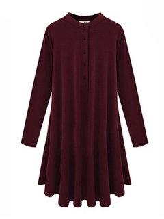 Элегантный свободной женщины Кашемир Твердые Плиссированные платье мини