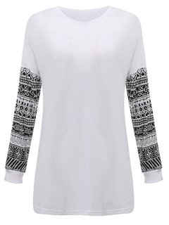 Causal Knitted Long Pattern Stitching Sleeve Pullover Shirt