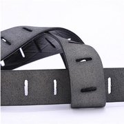 Men Hollow Second Layer Leather Pin Buckle Belt Casual Waistband Strap