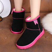 Butterfly Knot Slip On Warm Artifical Fur Lining Ankle Snow Boots