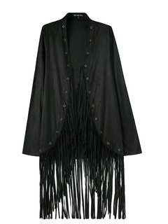 Suede Fringed Long Sleeve Pure Color Loose Cardigan Cape