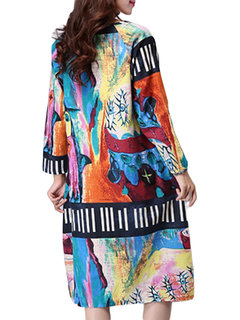 Folk Style Pocket Long Sleeve Graffiti Printed Women Dress