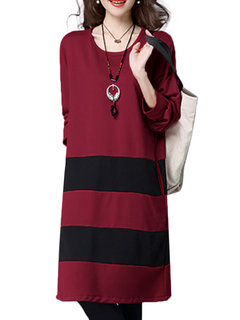 Ethnic Women Stripe Long Sleeve Patchwork Loose Dress